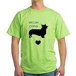 welsh corgi heart Green T-Shirt