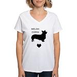 welsh corgi heart Women's V-Neck T-Shirt