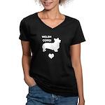 welsh corgi heart Women's V-Neck Dark T-Shirt
