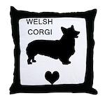 welsh corgi heart Throw Pillow