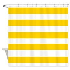 Yellow and White Stripes 2 Shower Curtain for