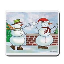 Snowman Snow Ball Fight Mousepad
