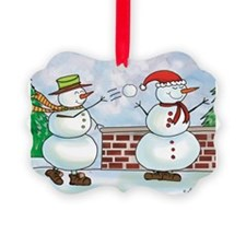 Snowman Snow Ball Fight Ornament