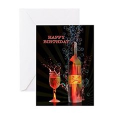 34th Birthday card with splashing wine Greeting Ca