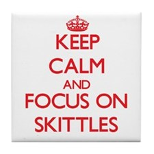 Keep calm and focus on Skittles Tile Coaster