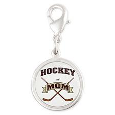 Hockey Mom Silver Round Charm