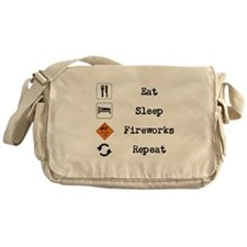 Eat, Sleep, Fireworks, Repeat Messenger Bag