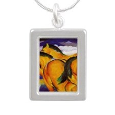 Yellow Horses Silver Portrait Necklace
