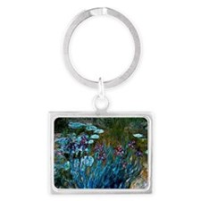 Monet - Irises and Water Lilies Landscape Keychain