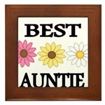 BEST AUNTIE EVER WITH FLOWERS Framed Tile