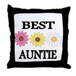 BEST AUNTIE EVER WITH FLOWERS Throw Pillow