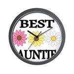 BEST AUNTIE EVER WITH FLOWERS Wall Clock