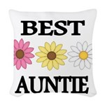BEST AUNTIE EVER WITH FLOWERS Woven Throw Pillow