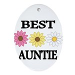 BEST AUNTIE EVER WITH FLOWERS Ornament (Oval)