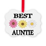 BEST AUNTIE EVER WITH FLOWERS Ornament