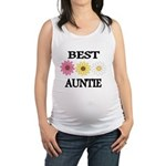 BEST AUNTIE EVER WITH FLOWERS Maternity Tank Top