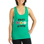 BEST AUNTIE EVER WITH FLOWERS Racerback Tank Top