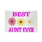 BEST AUNT EVER WITH FLOWERS 3 Magnets