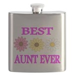 BEST AUNT EVER WITH FLOWERS 3 Flask