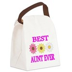 BEST AUNT EVER WITH FLOWERS 3 Canvas Lunch Bag