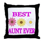 BEST AUNT EVER WITH FLOWERS 3 Throw Pillow