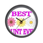 BEST AUNT EVER WITH FLOWERS 3 Wall Clock