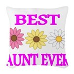 BEST AUNT EVER WITH FLOWERS 3 Woven Throw Pillow