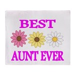 BEST AUNT EVER WITH FLOWERS 3 Throw Blanket
