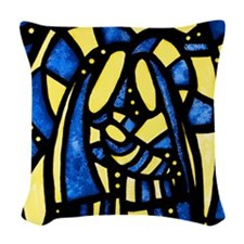 Holy Family Christmas Woven Throw Pillow