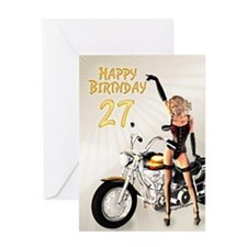 27th Birthday card with a motorbike girl Greeting