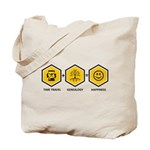 Time Travel + Genealogy = Happiness Tote Bag