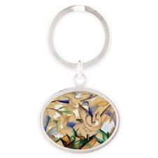 Birds Over the Village Oval Keychain