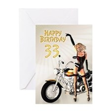 33rd Birthday card with a motorbike girl Greeting