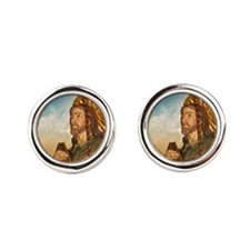 St. Rocco Religious Silver Cufflinks