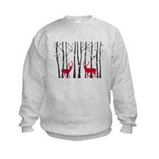 Christmas deers in birch tree forest Sweatshirt