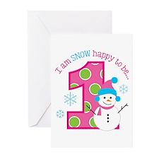 Snowman Girl 1st Birthday Greeting Cards