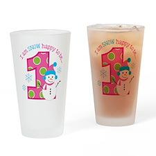 Snowman Girl 1st Birthday Drinking Glass