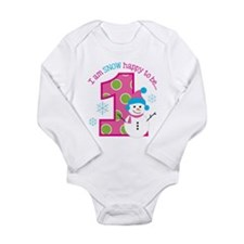 Snowman Girl 1st Birthday Body Suit