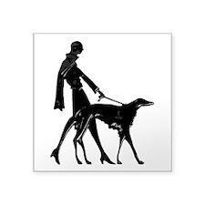 Art Deco Flapper Walking Borzoi Square Sticker 3