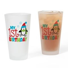 Penguin 1st Birthday Drinking Glass
