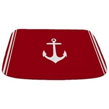 Nautical Dark Red Anchor Bathmat
