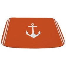 Nautical Orange Anchor Bathmat