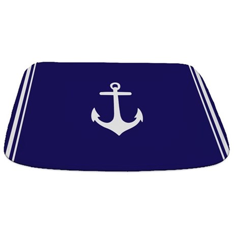 Nautical navy blue anchor bathmat by admin cp49789583 for Navy blue bathroom accessories