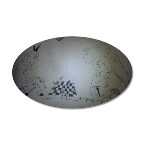 chess game drawing funny 35x21 Oval Wall Decal