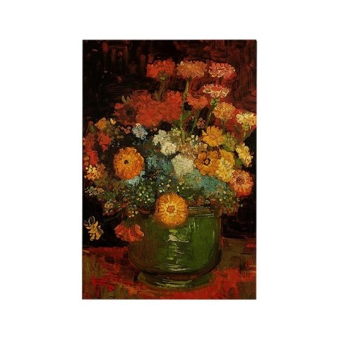 Vase with Zinnias and Geraniums, Rectangle Magnet