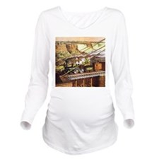 Vintage Train Long Sleeve Maternity T-Shirt
