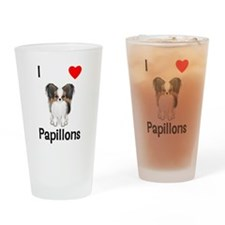 I Love Papillons (pic) Drinking Glass