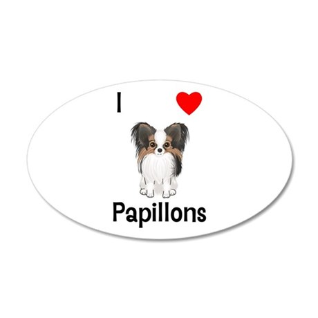 I Love Papillons (pic) 35x21 Oval Wall Decal