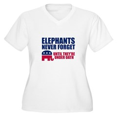 ELEPHANTS NEVER FORGET Women's Plus Size V-Neck T-