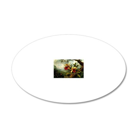 Orchids and Hummingbird, vin 20x12 Oval Wall Decal